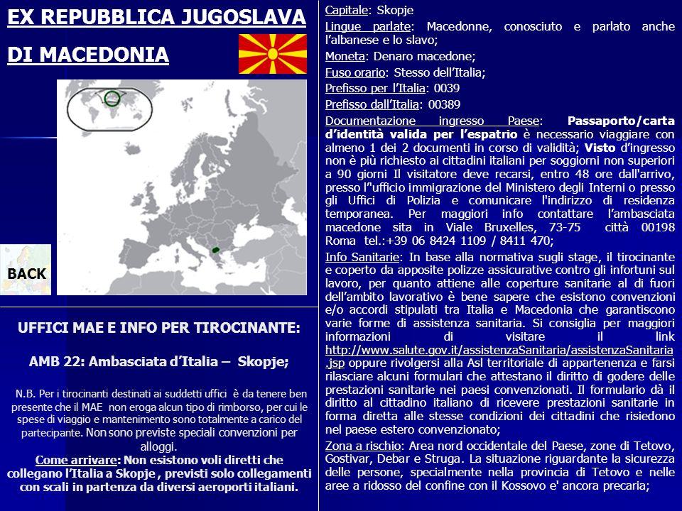 EX REPUBBLICA JUGOSLAVA DI MACEDONIA