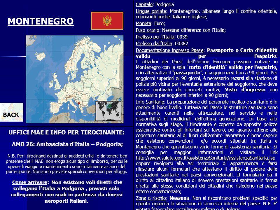 Capitale: Podgoria Lingue parlate: Montenegrino, albanese lungo il confine orientale, conosciuti anche italiano e inglese;