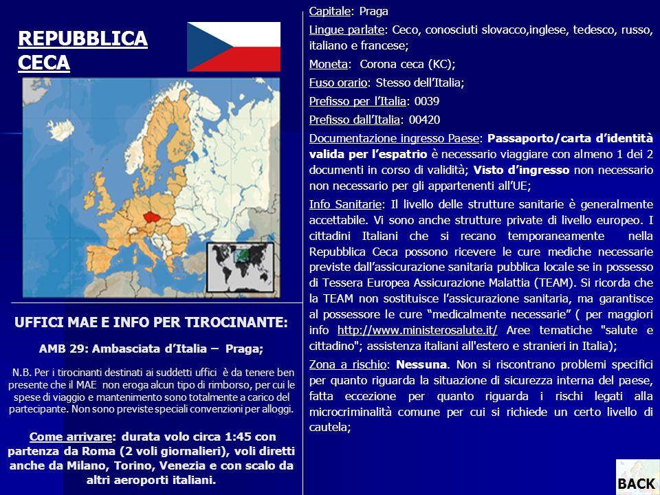 Capitale: Praga Lingue parlate: Ceco, conosciuti slovacco,inglese, tedesco, russo, italiano e francese;