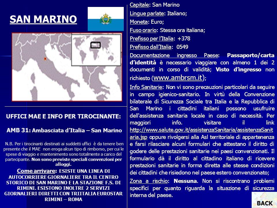 Capitale: San Marino Lingue parlate: Italiano; Moneta: Euro; Fuso orario: Stessa ora italiana; Prefisso per l'Italia: +378.