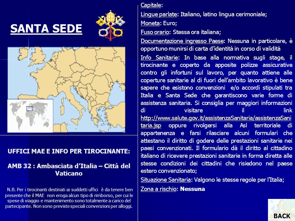Capitale: Lingue parlate: Italiano, latino lingua cerimoniale; Moneta: Euro; Fuso orario: Stessa ora italiana;