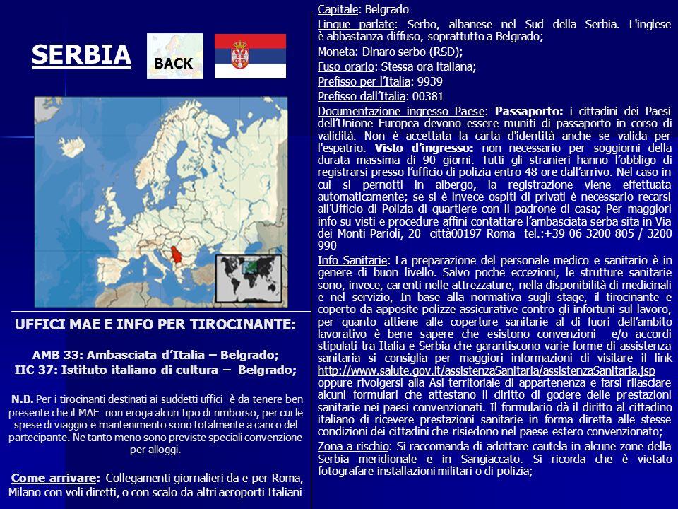 Capitale: Belgrado Lingue parlate: Serbo, albanese nel Sud della Serbia. L inglese è abbastanza diffuso, soprattutto a Belgrado;