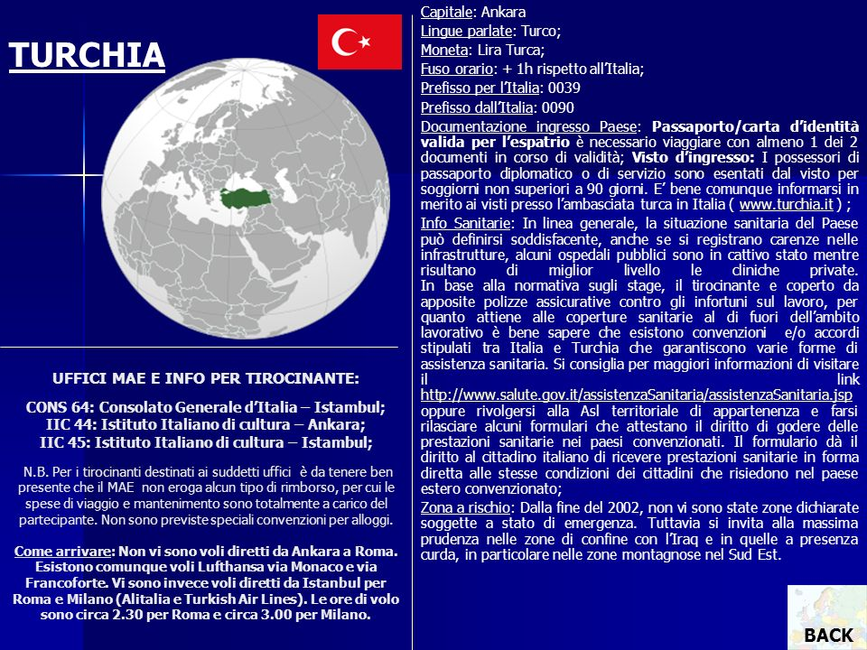 Capitale: Ankara Lingue parlate: Turco; Moneta: Lira Turca; Fuso orario: + 1h rispetto all'Italia;