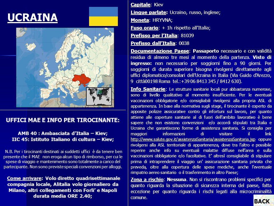 Capitale: Kiev Lingue parlate: Ucraino, russo, inglese; Moneta: HRYVNA; Fuso orario: + 1h rispetto all'Italia;
