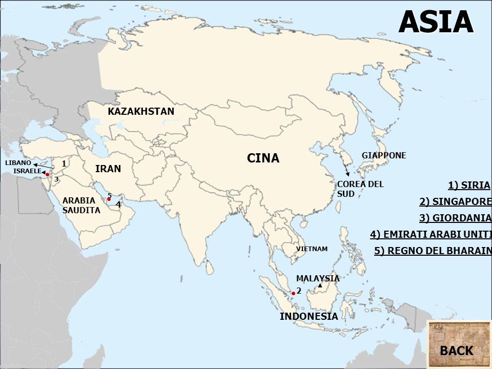 ASIA CINA BACK KAZAKHSTAN IRAN 1) SIRIA 2) SINGAPORE 3) GIORDANIA