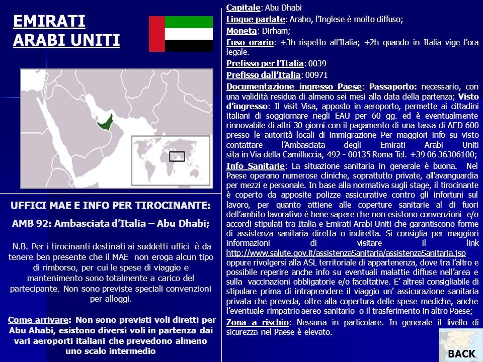 Capitale: Abu Dhabi Lingue parlate: Arabo, l Inglese è molto diffuso; Moneta: Dirham;