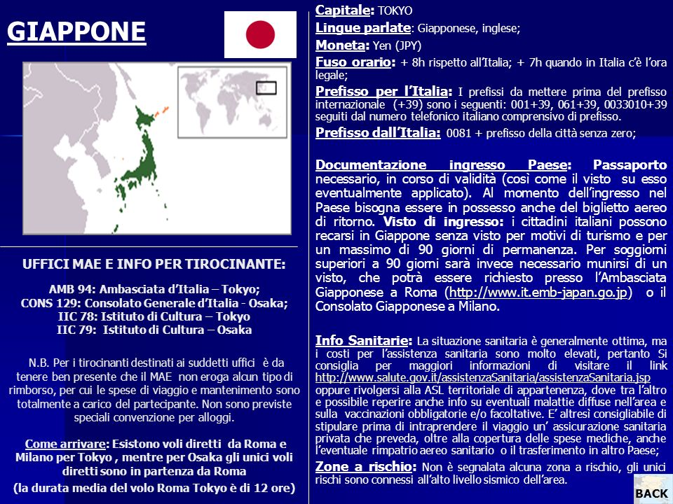 GIAPPONE Capitale: TOKYO Lingue parlate: Giapponese, inglese;