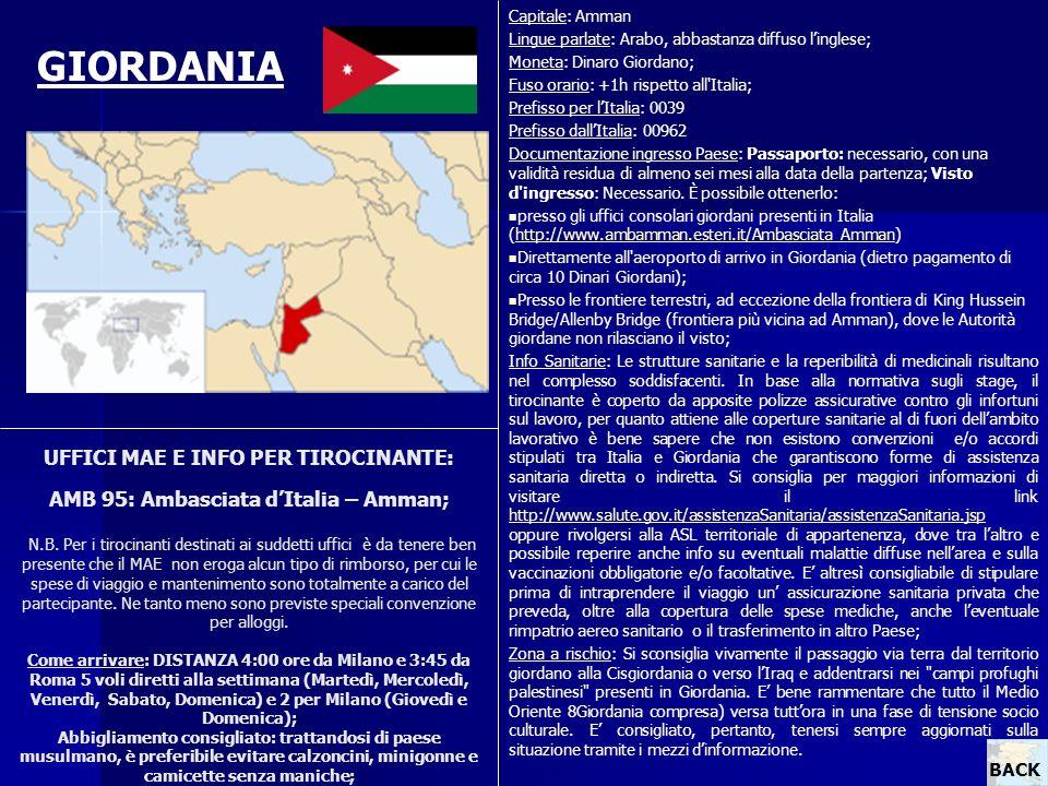 Capitale: Amman Lingue parlate: Arabo, abbastanza diffuso l'inglese; Moneta: Dinaro Giordano; Fuso orario: +1h rispetto all Italia;