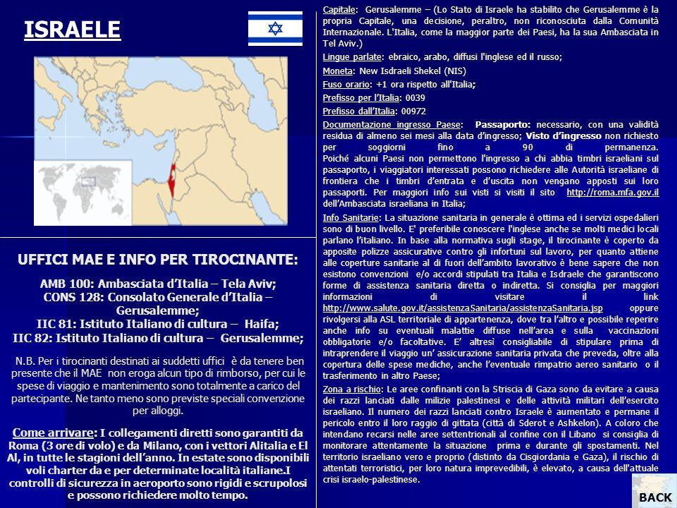 Capitale: Gerusalemme – (Lo Stato di Israele ha stabilito che Gerusalemme è la propria Capitale, una decisione, peraltro, non riconosciuta dalla Comunità Internazionale. L Italia, come la maggior parte dei Paesi, ha la sua Ambasciata in Tel Aviv.)