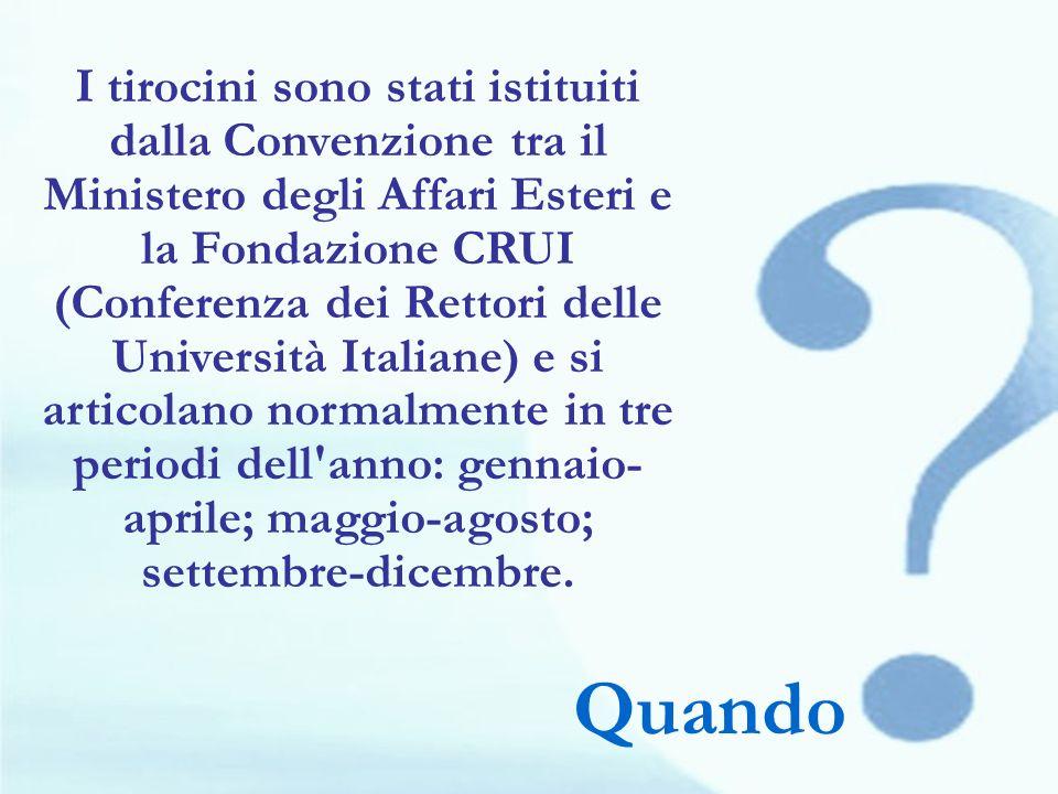 I tirocini sono stati istituiti dalla Convenzione tra il Ministero degli Affari Esteri e la Fondazione CRUI (Conferenza dei Rettori delle Università Italiane) e si articolano normalmente in tre periodi dell anno: gennaio-aprile; maggio-agosto; settembre-dicembre.
