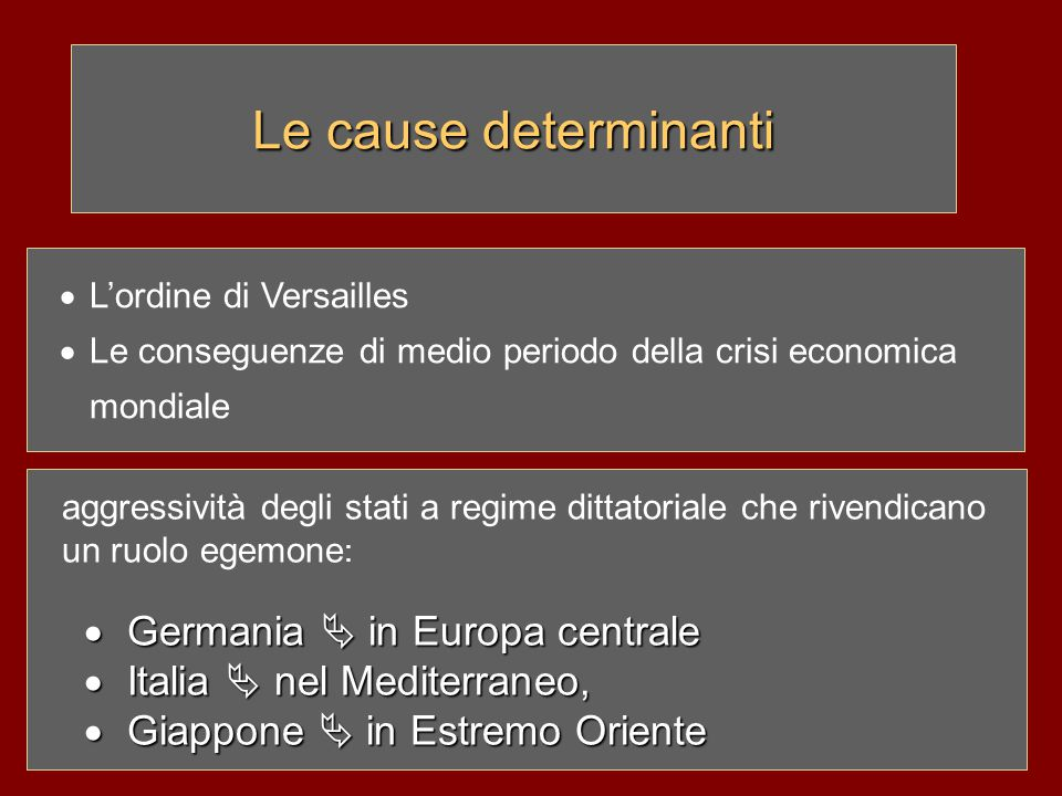 Le cause determinanti Germania  in Europa centrale
