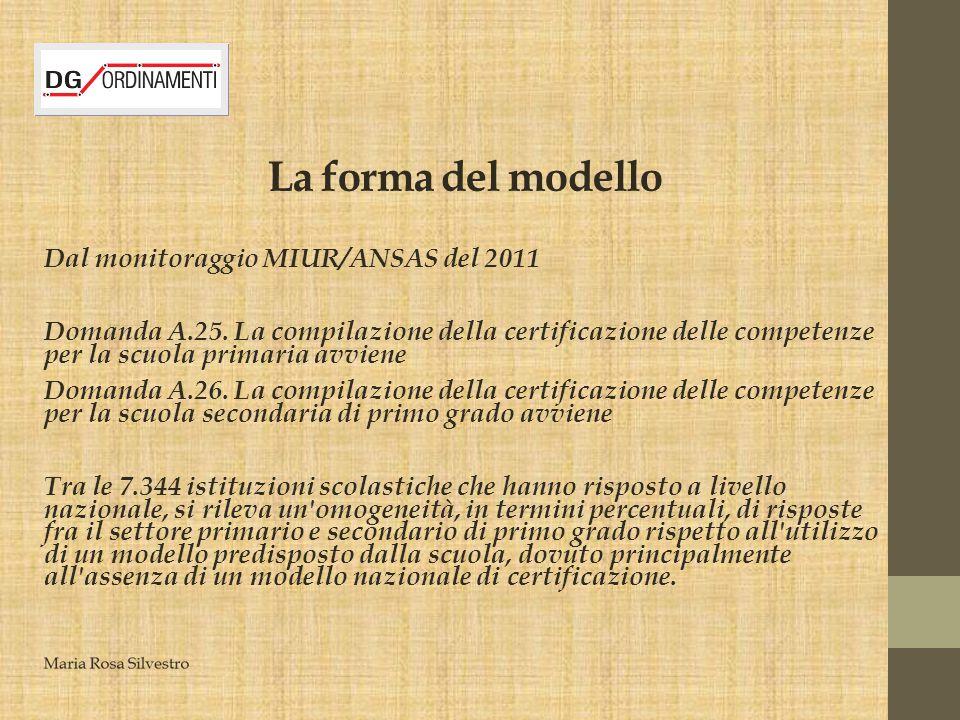 La forma del modello Dal monitoraggio MIUR/ANSAS del 2011
