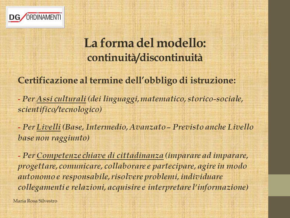 La forma del modello: continuità/discontinuità