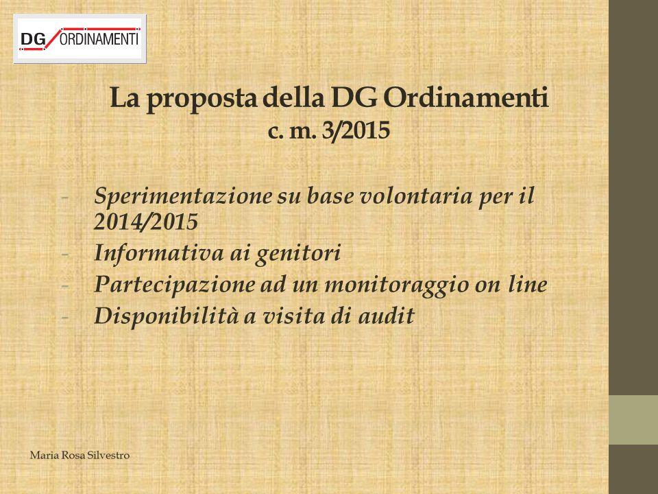 La proposta della DG Ordinamenti c. m. 3/2015