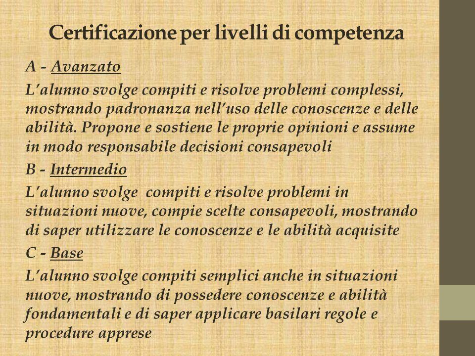 Certificazione per livelli di competenza