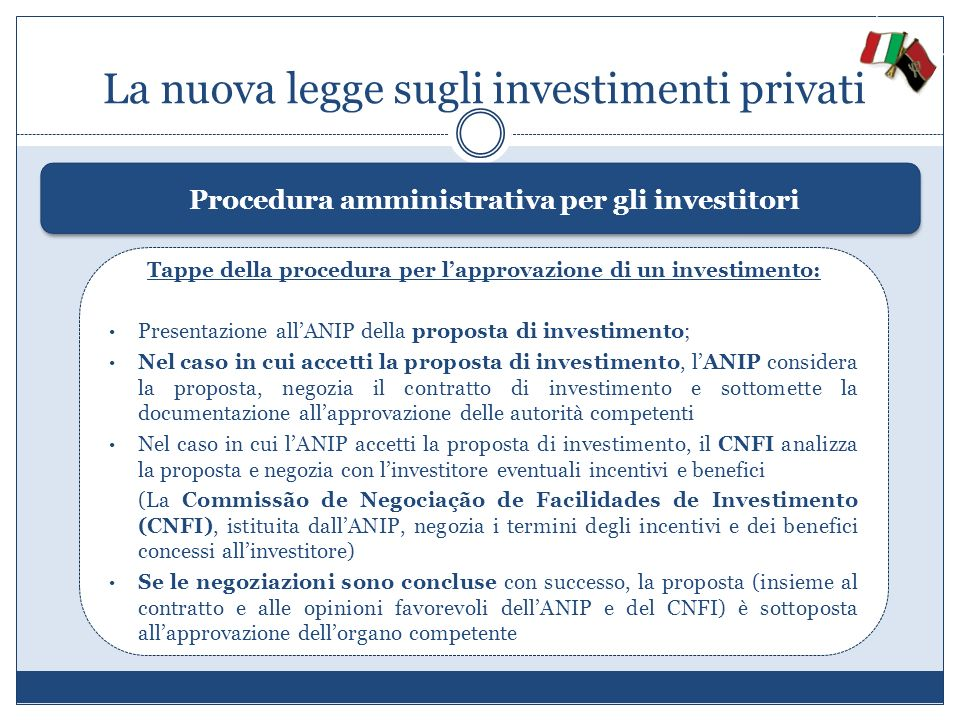 La nuova legge sugli investimenti privati