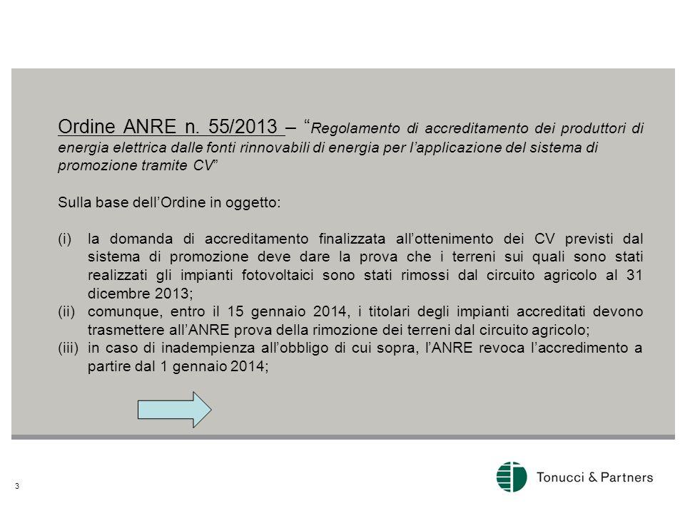 Ordine ANRE n. 55/2013 – Regolamento di accreditamento dei produttori di energia elettrica dalle fonti rinnovabili di energia per l'applicazione del sistema di
