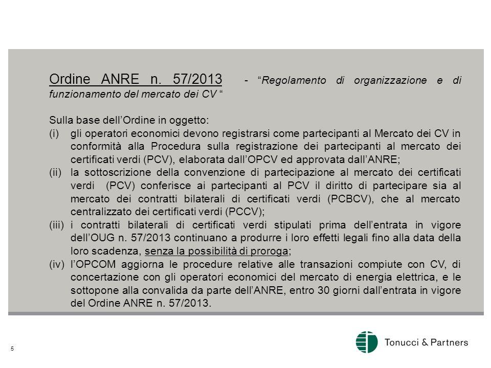 Ordine ANRE n. 57/2013 - Regolamento di organizzazione e di funzionamento del mercato dei CV