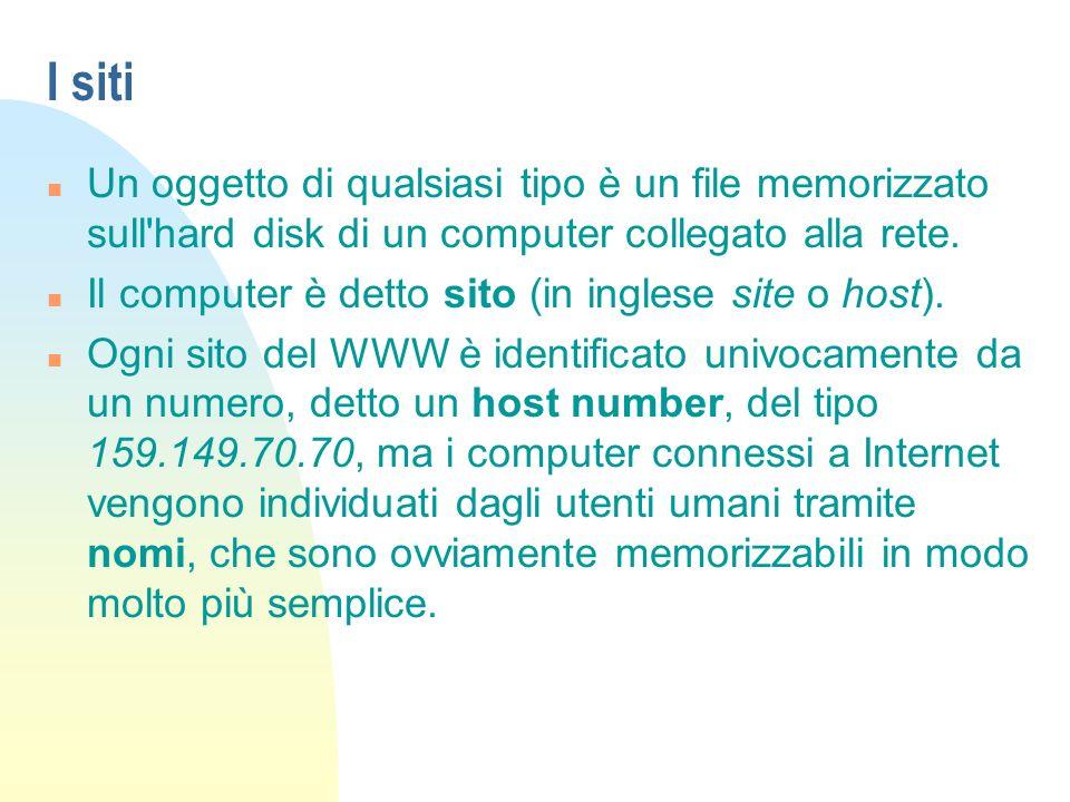 I siti Un oggetto di qualsiasi tipo è un file memorizzato sull hard disk di un computer collegato alla rete.