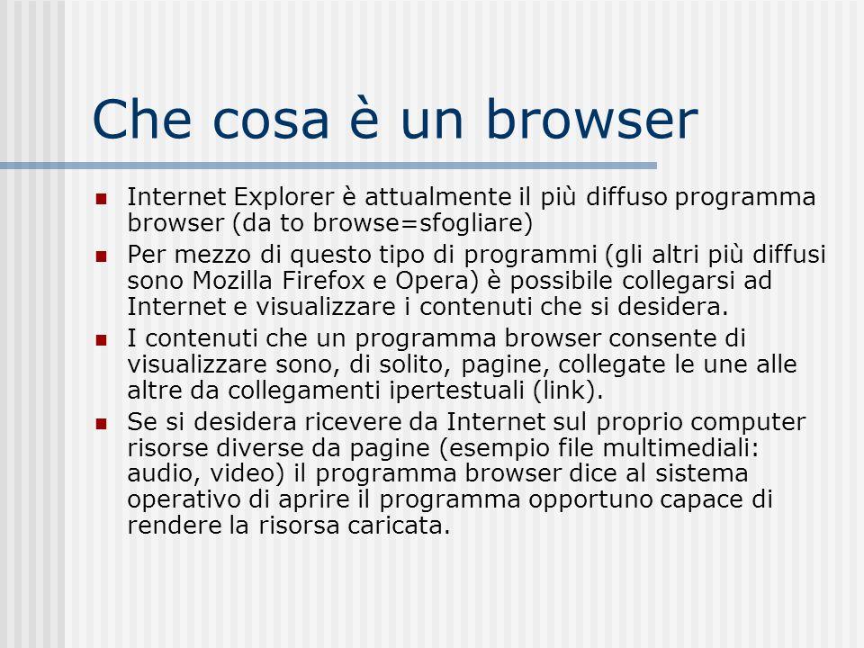 Che cosa è un browser Internet Explorer è attualmente il più diffuso programma browser (da to browse=sfogliare)