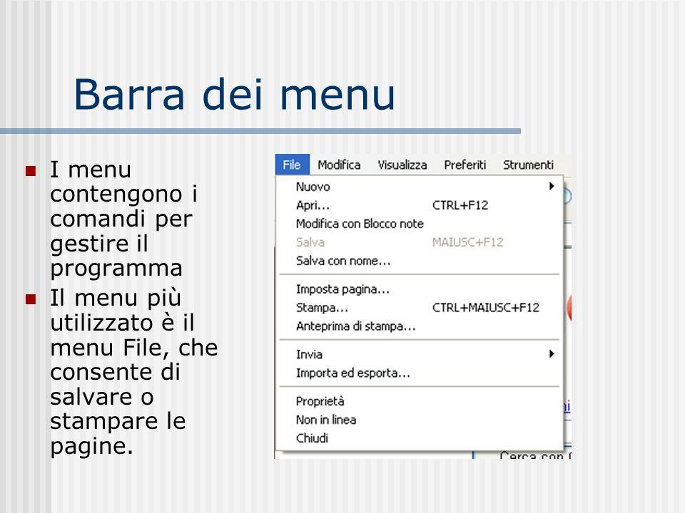 Barra dei menu I menu contengono i comandi per gestire il programma