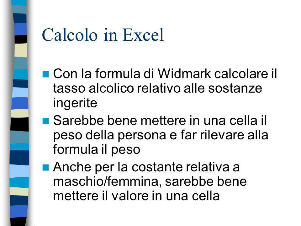 Calcolo in Excel Con la formula di Widmark calcolare il tasso alcolico relativo alle sostanze ingerite.