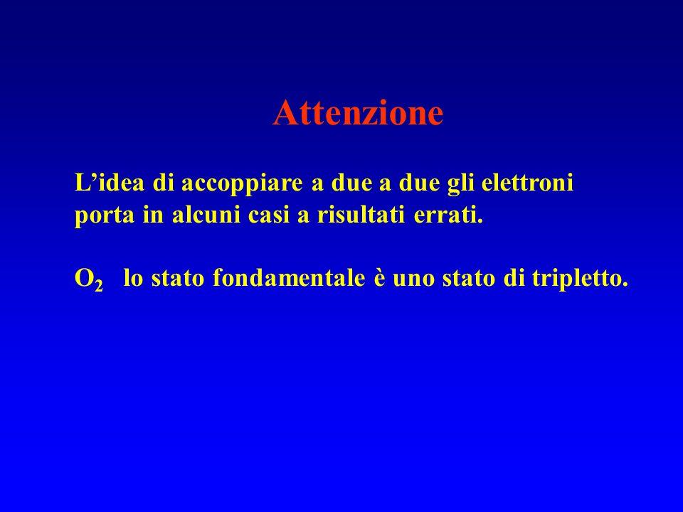 Attenzione L'idea di accoppiare a due a due gli elettroni porta in alcuni casi a risultati errati.