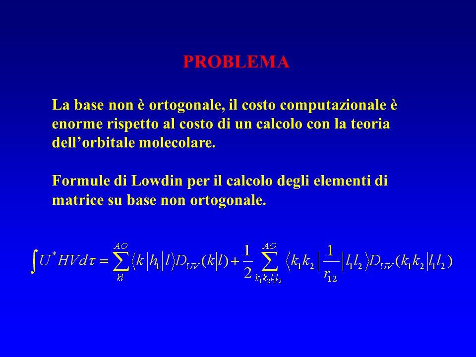 PROBLEMA La base non è ortogonale, il costo computazionale è enorme rispetto al costo di un calcolo con la teoria dell'orbitale molecolare.