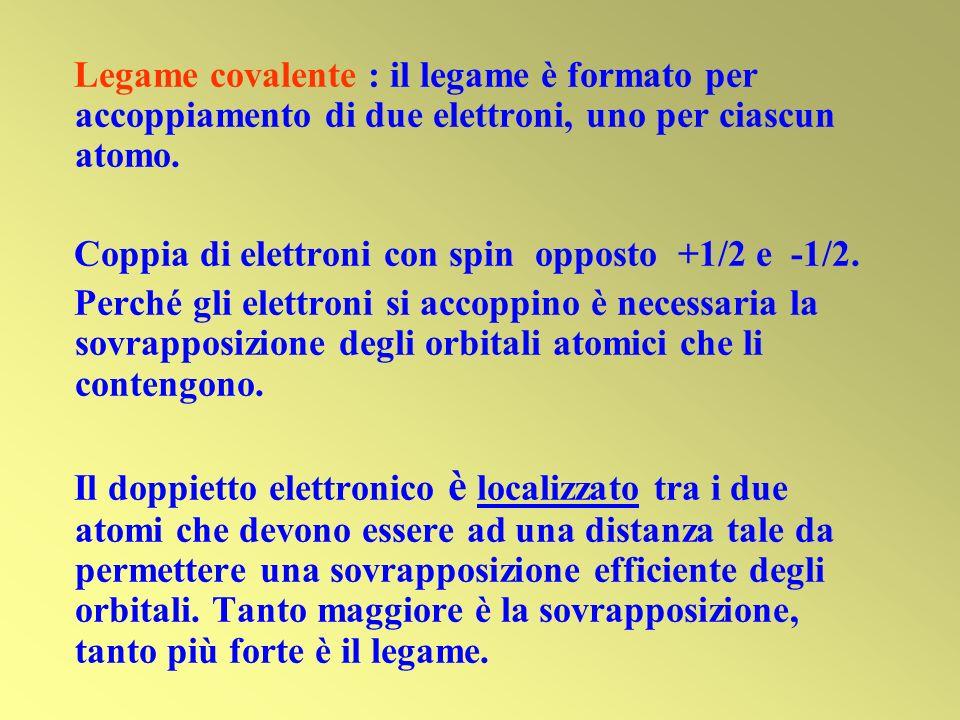 Legame covalente : il legame è formato per accoppiamento di due elettroni, uno per ciascun atomo.