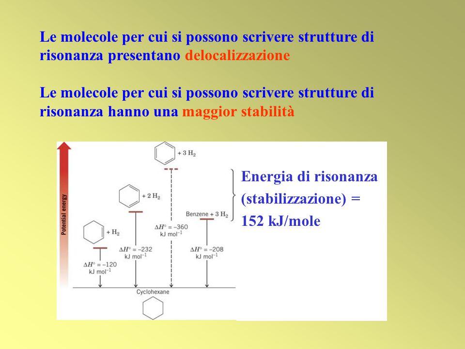 Le molecole per cui si possono scrivere strutture di risonanza presentano delocalizzazione
