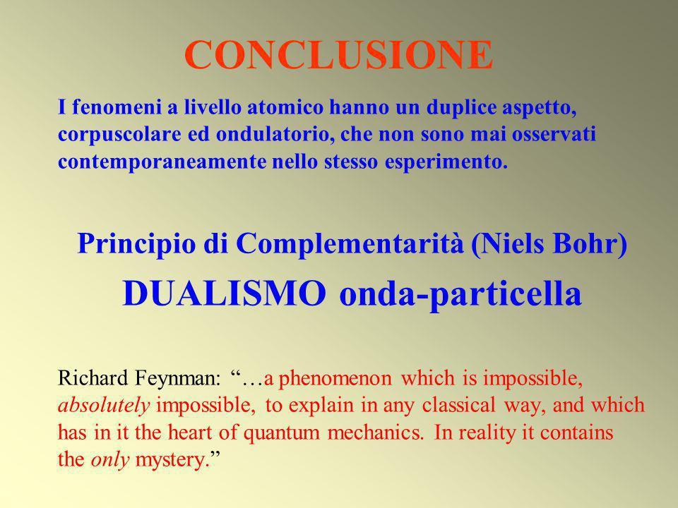 Principio di Complementarità (Niels Bohr) DUALISMO onda-particella