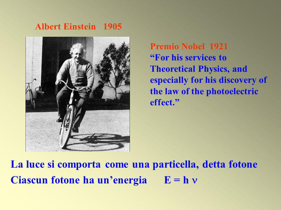 La luce si comporta come una particella, detta fotone