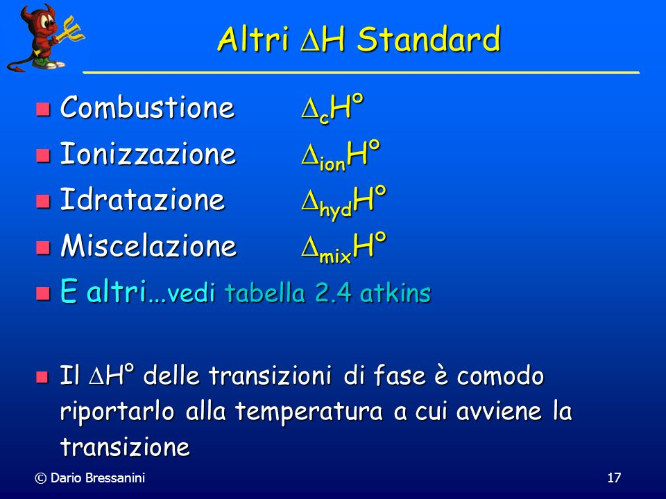 Altri DH Standard Combustione cH° Ionizzazione ionH°