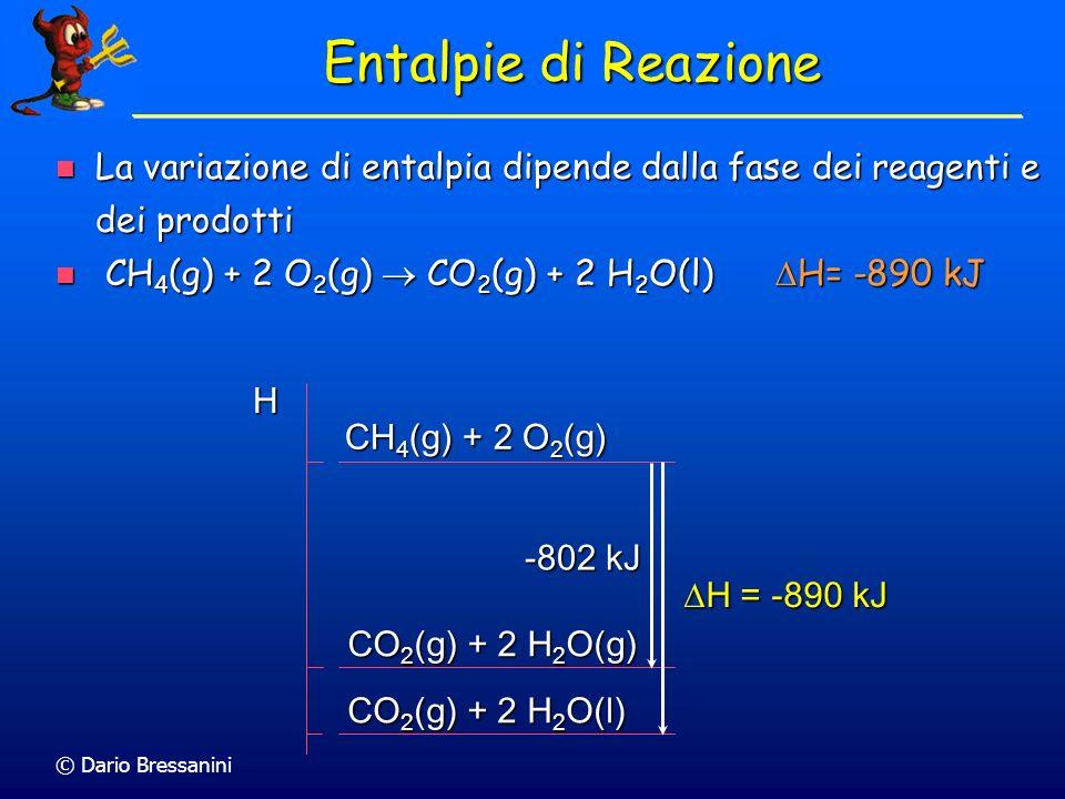 Entalpie di Reazione La variazione di entalpia dipende dalla fase dei reagenti e dei prodotti. CH4(g) + 2 O2(g) ® CO2(g) + 2 H2O(l) DH= -890 kJ.