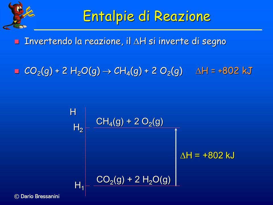 Entalpie di Reazione Invertendo la reazione, il DH si inverte di segno