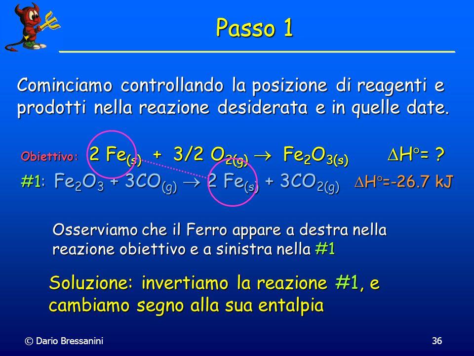 Passo 1 Cominciamo controllando la posizione di reagenti e prodotti nella reazione desiderata e in quelle date.