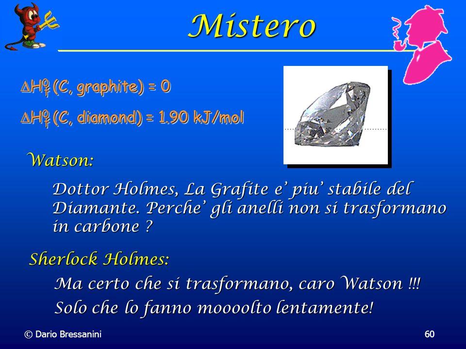 Mistero DH0 (C, graphite) = 0 DH0 (C, diamond) = 1.90 kJ/mol Watson: