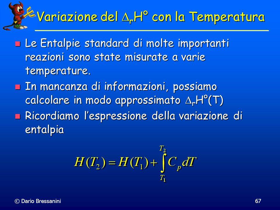 Variazione del DrH° con la Temperatura