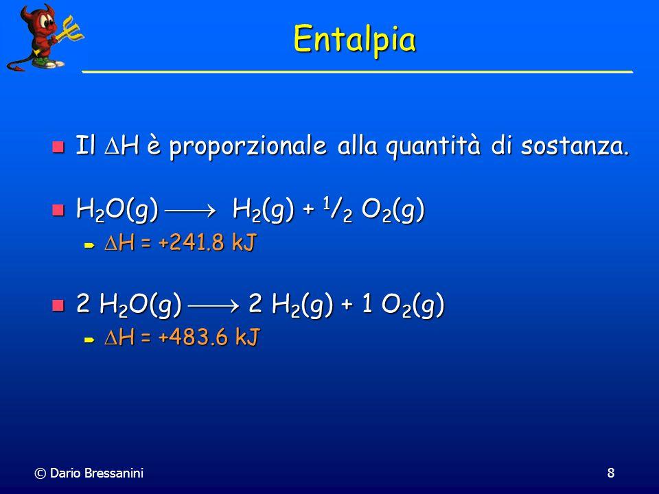 Entalpia Il H è proporzionale alla quantità di sostanza.