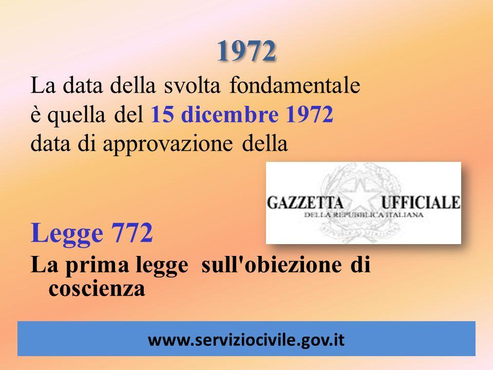 1972 Legge 772 La data della svolta fondamentale