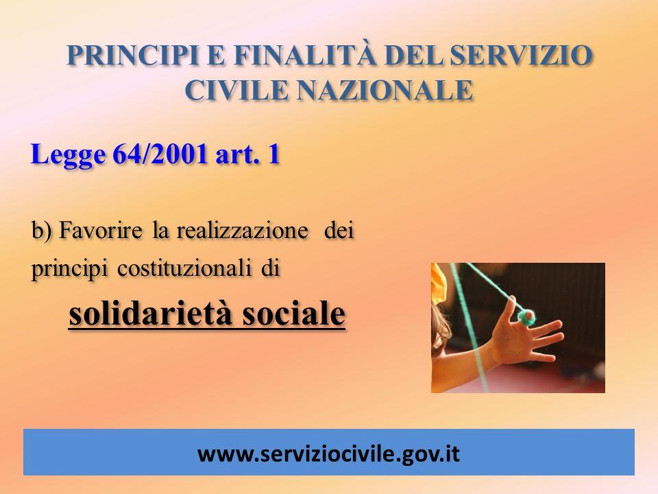 PRINCIPI E FINALITÀ DEL SERVIZIO CIVILE NAZIONALE