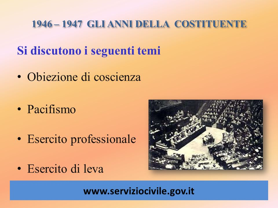 1946 – 1947 GLI ANNI DELLA COSTITUENTE