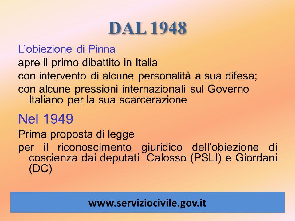 DAL 1948 Nel 1949 L'obiezione di Pinna