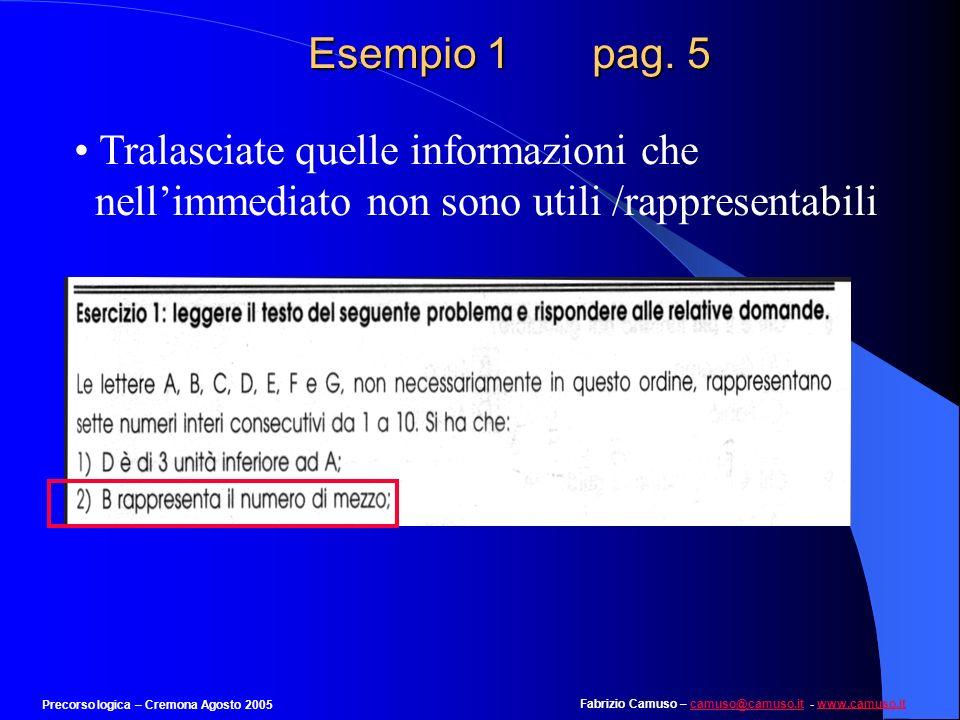 Esempio 1 pag. 5 Tralasciate quelle informazioni che nell'immediato non sono utili /rappresentabili.
