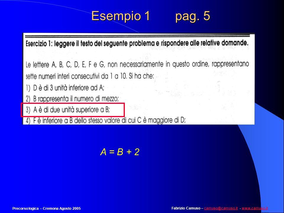 Esempio 1 pag. 5 A = B + 2 Precorso logica – Cremona Agosto 2005