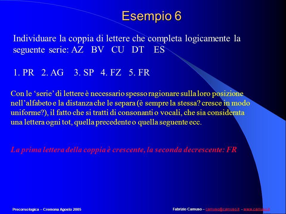 Esempio 6 Individuare la coppia di lettere che completa logicamente la seguente serie: AZ BV CU DT ES.