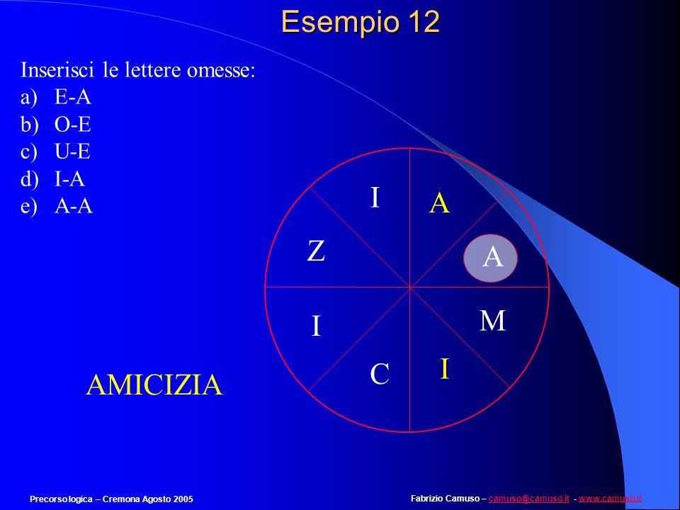Esempio 12 I A Z A M I I C AMICIZIA Inserisci le lettere omesse: E-A