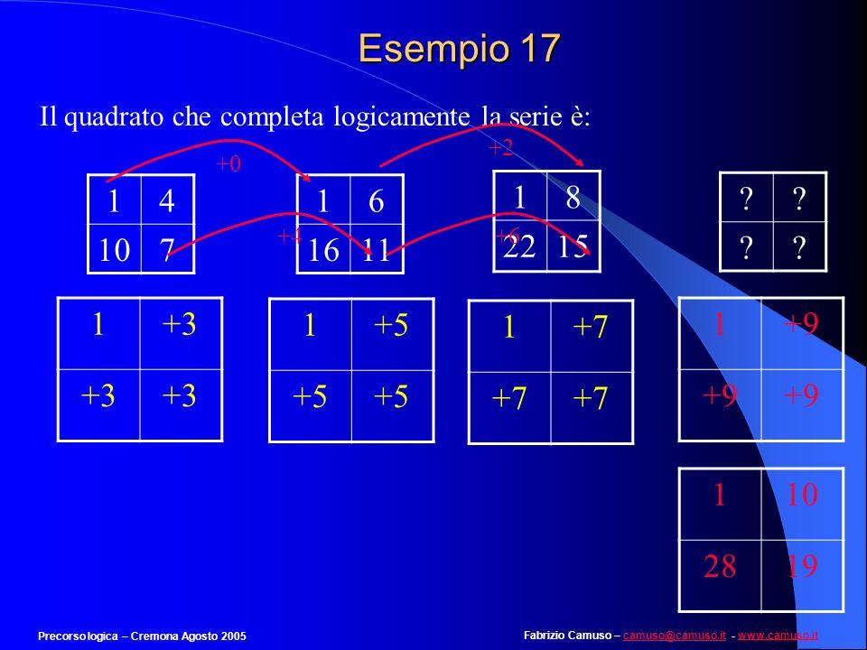 Esempio 17 Il quadrato che completa logicamente la serie è: +0. +2. +4. +6. 1. 4. 10. 7. 1.