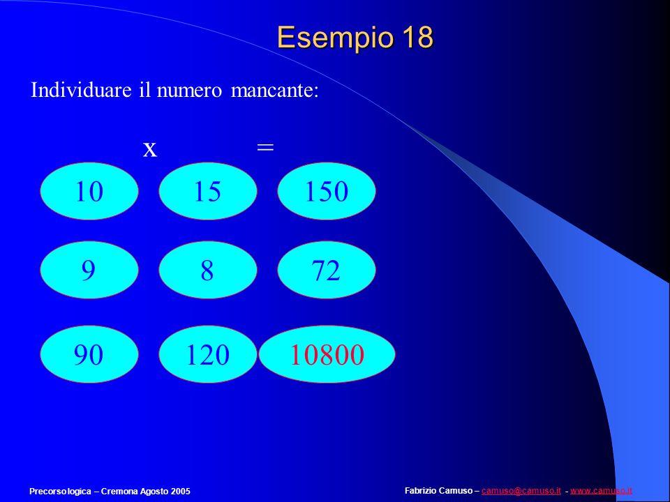 Esempio 18 Individuare il numero mancante: x. = 10. 15. 150. 9. 8. 72. 90. 120. 10800.