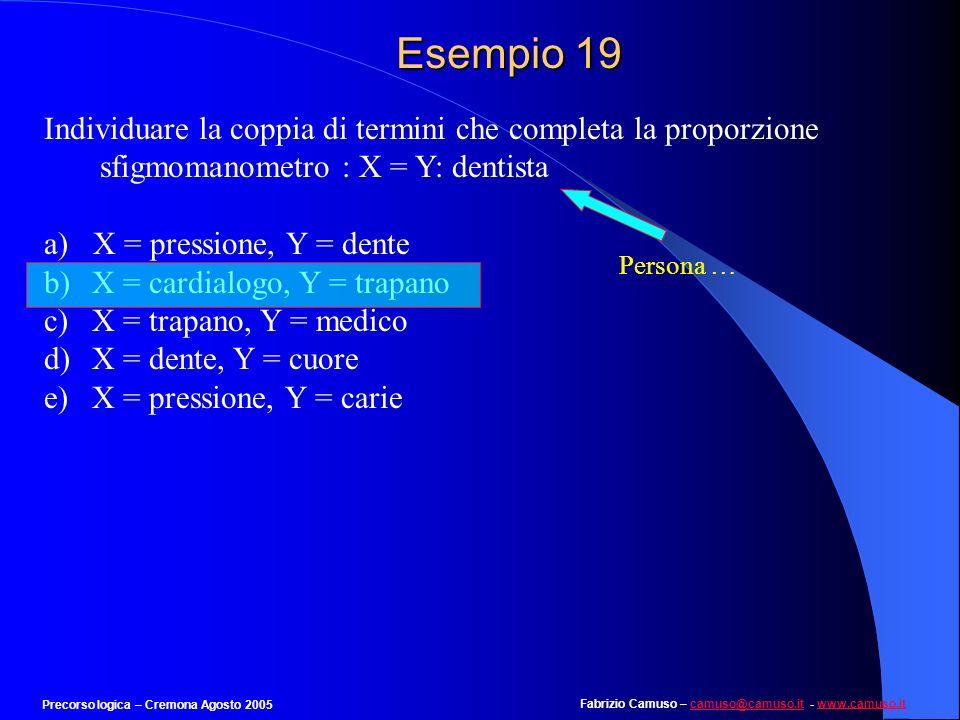 Esempio 19 Individuare la coppia di termini che completa la proporzione. sfigmomanometro : X = Y: dentista.